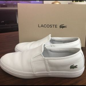 Lacoste White Slip-on Leather Sneakers